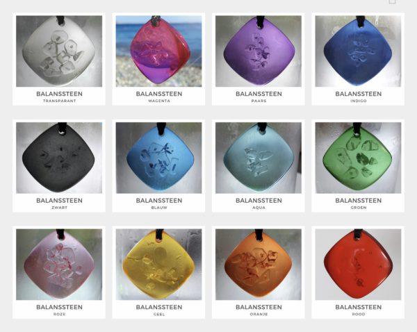 Balanssteen hangers in 12 kleuren